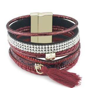 Jewelry - BOGO SALE Red Leather Wrap Bracelet Tassel